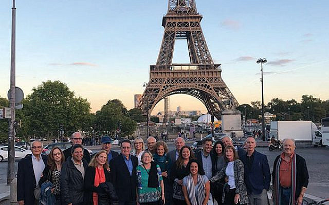 The 24 participants on the Jewish Federation in the Heart of New Jersey's mission to France in front of the Eiffel Tower. Photos courtesy Jeff Schwartz