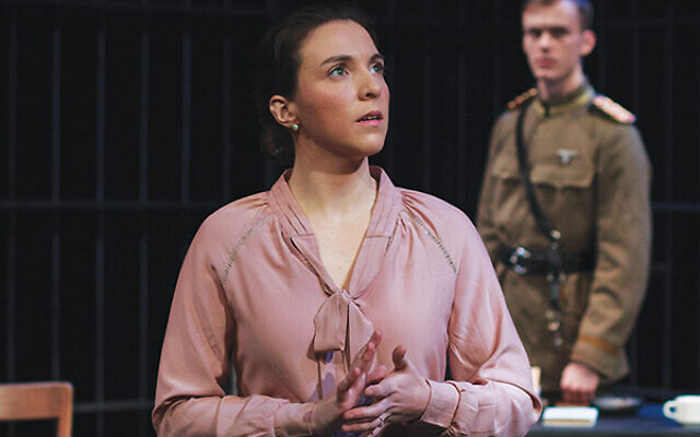 """Giuliana Carr plays Hannah Stern (Arendt) in """"Mrs. Stern Wanders the Prussian State Library"""" at Luna Stage. Photo by Kacey Stamats"""