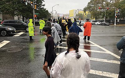 Many Jews were among the protesters who blocked the intersection of Broad and Court streets in Newark on Oct. 3.