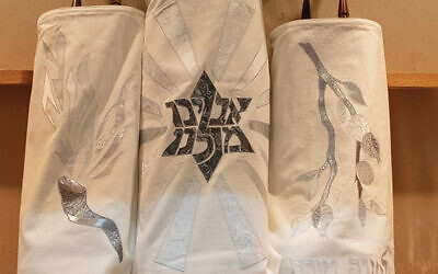 Beth Chaim's hand-crafted High Holiday Torah covers honor Marlene Brown. Photos courtesy Congregation Beth Chaim