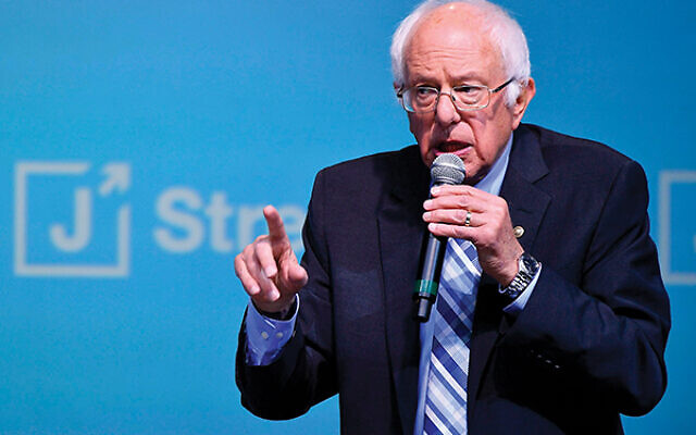 Sen. Bernie Sanders addresses the J Street conference Oct. 28. Getty Images