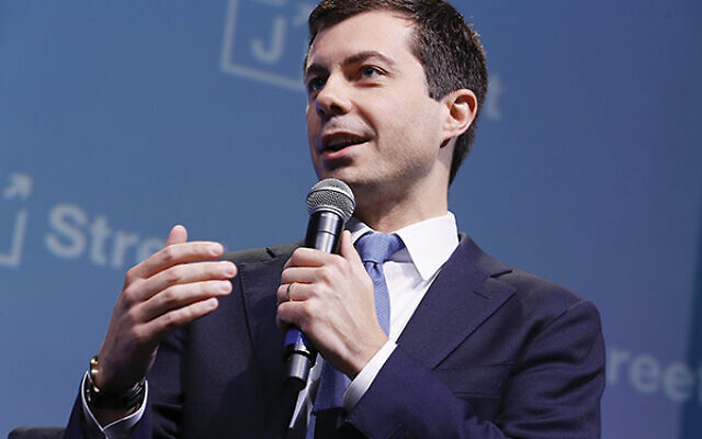 Mayor Pete Buttigieg at the  J Street conefrence. Getty Images