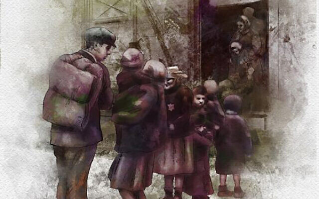 "The sketch ""Arriving at Auschwitz,"" by Olga Kurkina, appears on the inside back cover of the Holocaust Arts Foundation eBook ""Six Million Murders."" Photos Courtesy Mark Meyerowitz"