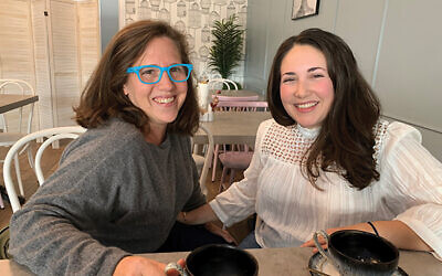 """The hosts of the """"Call Your Mother"""" podcast are Jordana Horn of Short Hills, left, and Shannon Sarna of South Orange. Photo by Johanna Ginsberg"""