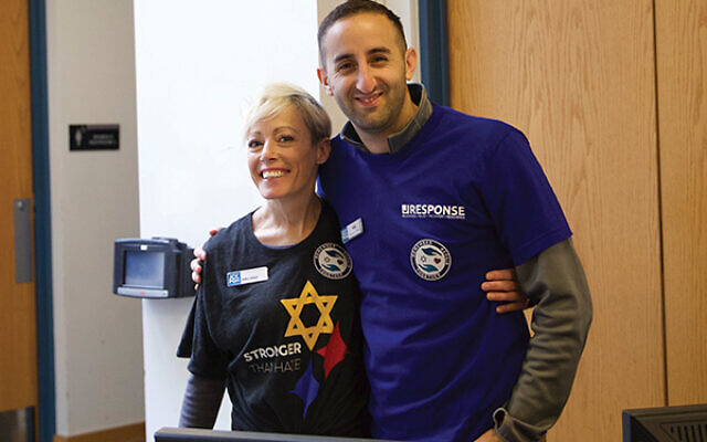 Sam Aboudara, with Melissa Hiller, assistant director of the Center for Loving Kindness at the JCC of Greater Pittsburgh.