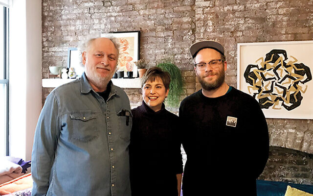 """Seth Rogen, right, with his parents, Mark and Sandy Rogen. The Workmen's Circle, Seth said, is """"highly connected to my own personal identity."""" Courtesy of Workmen's Circle"""