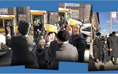 A video captured yeshiva kids returning to school after a deadly shooting in Jersey City.
