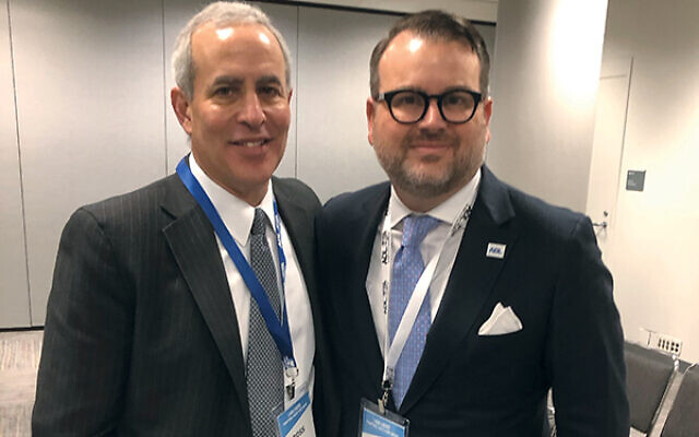 The Anti-Defamation League's New Jersey Advisory Board chairman Ross Pearlson, at left, and New York/New Jersey Regional Director Evan Bernstein at the 2019 ADL Summit, which took place Nov. 21. Photo by Jed Weisberger