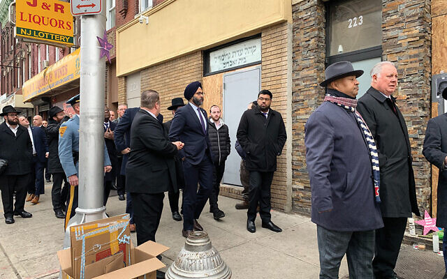New Jersey Attorney General Gurbir Grewal visited the site of the attack on Monday with other government officials. Photos by Shira Hanau