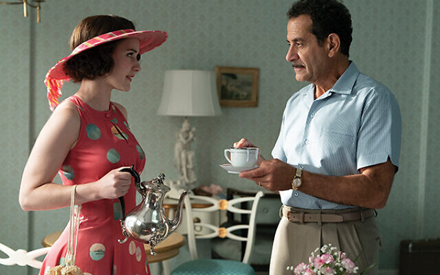 Rachel Brosnahan as Midge Maisel, with Tony Shalhoub as her father Abe. Courtesy of Tiffany Shinn via Amazon Studios