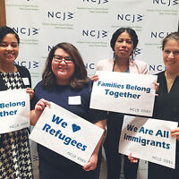 Panelists at the NCJW Lunch & Learn included, from left, Yalidy Matos, Rutgers University assistant professor; Greisa Martinez Rosas, United We Dream deputy executive director; Rosa Huitzitzilin, Make the Road New Jersey community organizer; and Farrin Anello, ACLU of New Jersey senior attorney.