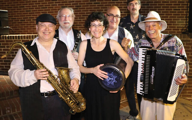 Ed Goldberg, at right, with members of the Odessa Klezmer Band including, from left, Steve Kaplan, Bob Mehlman, Miriam Libove, Dennis Ionata, and Joel Pecchioli. Photo courtesy Ed Goldberg