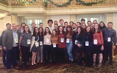 Thirty Rutgers Hillel students, with executive director Andrew Getraer, front left, joined hundreds of other student leaders at a Pittsburgh conference on anti-Semitism on college campuses. Photo courtesy Brooke Getter