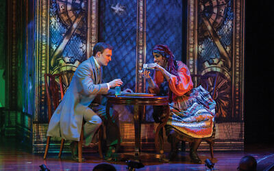 "Marcus (Josh Kohane) and the sorceress, Bobbe-Yachne (Mikhl Yashinsky), confront one another in ""The Sorceress."" Photo by Victor Nechay-Properpix.com"