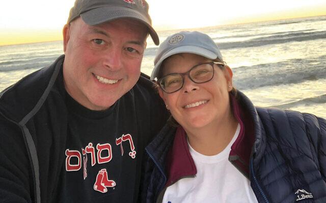 Showing their Jewish pride in Siesta Key, Fla., on Jan. 6 is AJC New Jersey regional director Rabbi David Levy and Julie Levy.