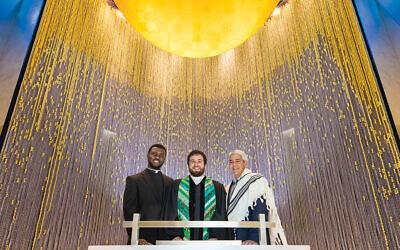 Father Ignatius Okoroji, Rev. Matthew Rhodes, and Rabbi Adam Feldman in the new chapel at Princeton Medical Center. Richard Titus Photographics
