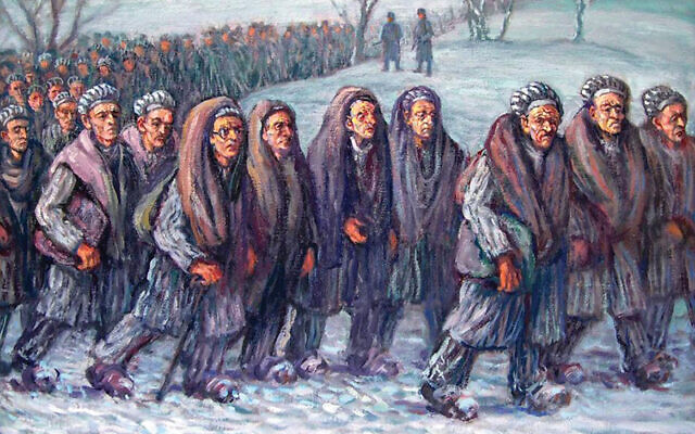 "David Friedmann's ""Death March from Camp Gleiwitz I to Camp Blechhammer,"" 1947. Oil on canvas. Copyright @1989 Miriam Friedman Morris."