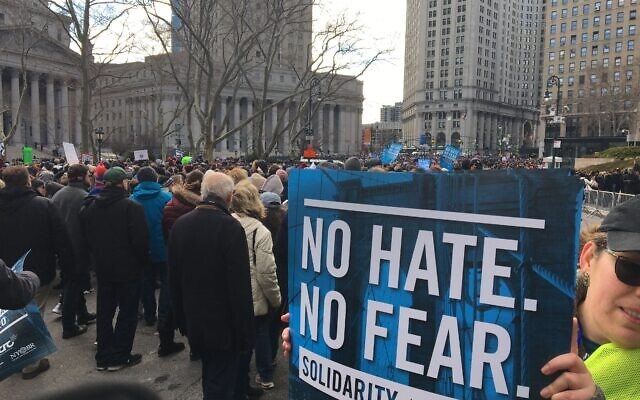 An estimated 25,000 people marched in the No Hate No Fear rally in New York City last weekend. Jewish Week Staff