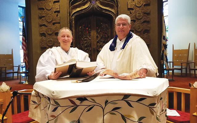 Cantor Jeff Warschauer, who joined The Jewish Center in 2018, with Rabbi Adam Feldman. Photos courtesy The Jewish Center