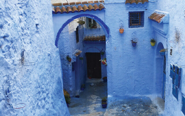 "The ""blue"" city of Chefchaouen.Ornate Arabic calligraphy can be found inside Tangier's Moshe Nahon Synagogue."
