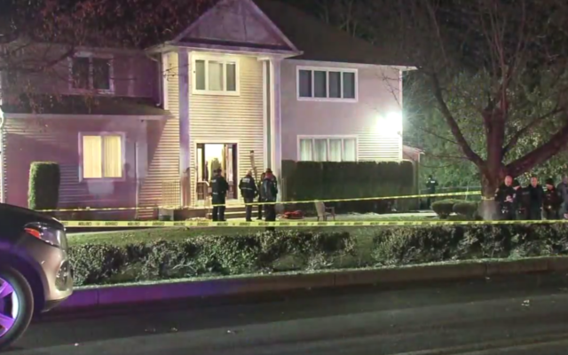 Police outside a rabbi's home in Monsey, N.Y., where at least five people were stabbed, Dec. 29, 2019. Screenshot from WABC/JTA