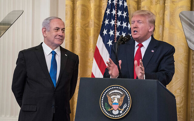 President Trump and Prime Minister Netanyahu during the peace plan announcement on Jan. 28 at the White House. Getty Images