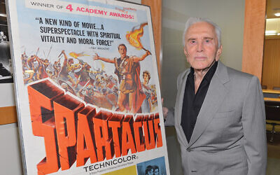 """Kirk Douglas attends the last 70mm film screening of """"Spartacus"""" at AMPAS Samuel Goldwyn Theater in 2012 in Beverly Hills. Photo by Alberto E. Rodriguez/Getty Images"""