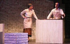Jeremy Rishe, at right, plays the knish man Seth Konig, and Lauren Singerman is his sister Rachel. Photos by Chris Yacopino