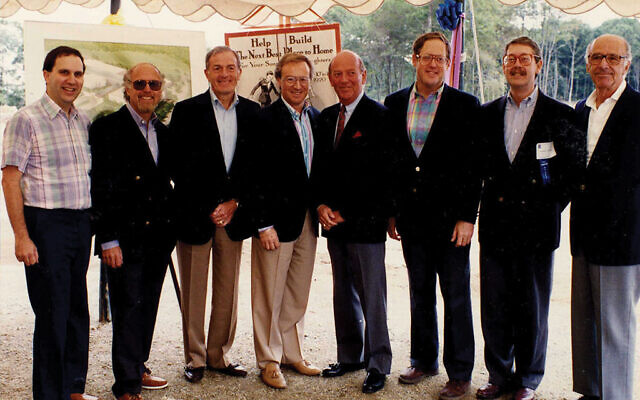 Ron Meier, at left, with community leaders at the 1990 ground-breaking ceremony for the Alex Aidekman Family Jewish Community Campus in Whippany. The others are, from left, Sam Oolie, Jerry Waldor, Burton Berger, Robert Brody, James Schwartz, Howard E. Charish, and Martin Levin. Richard Lobell Photography