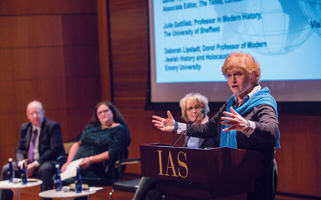 "Deborah E. Lipstadt, at right, historian and author of ""AntiSemitism: Here and Now,"" was one of three panelists in a program at the Institute for Advanced Study in Princeton. Photo by Andrea Kane/IAS"