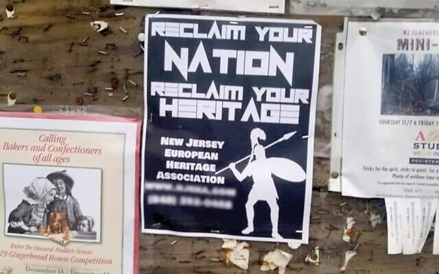 A recruitment flyer found on a public board in Maplewood in December 2019 for the New Jersey European Heritage Association, responsible for about 70 percent of the white supremacy leafletting in 2019, according to the ADL.