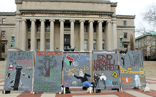 """An Israel Apartheid Week installation at Columbia. Bollinger's statement on BDS and anti-Semitism, said the head of Columbia/Barnard Hillel, is """"one of the strongest statements I have seen from a university president."""