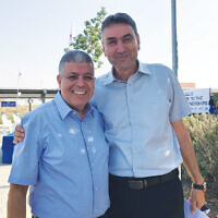 Two mayors of Greater MetroWest partnership communities in a photo from 2019. Shai Hajaj, at right, mayor of Merchavim, who tested positive for Covid-19, and Itzik Danino, mayor of Ofakim.