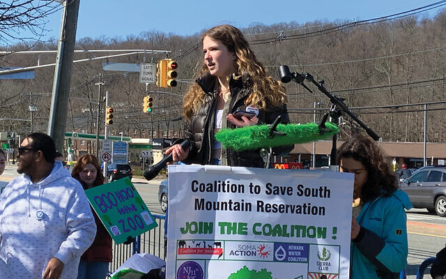 Zoe Newman speaking at the March 1 rally opposing expansion of Turtle Back Zoo facilities in West Orange. Photo Courtesy Zoe Newman