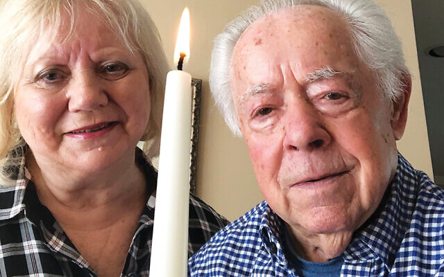 Luba and Mark Schonwetter of Livingston participate in the virtual Yom HaShoah commemoration on April 20, cosponsored by Jewish Federation of Greater MetroWest NJ and Kean University.