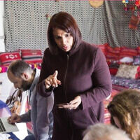 Hanan Alsanah, a activist and lawyer, gives instructions to volunteers trying to increase the voter turnout for Bedouin women. Photos Courtesy Phyllis Bernstein