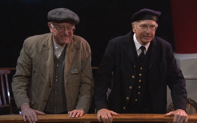 "Sen. Bernie Sanders, left, and comedian Larry David appear on an episode of ""Saturday Night Live,"" Feb., 2016. (NBC)"