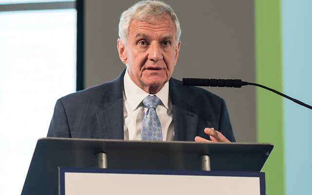 Larry Glaser speaking at the Center for Holocaust and Genocide Studies at Saint Peter's University in Jersey City. Courtesy Saint Peter's University