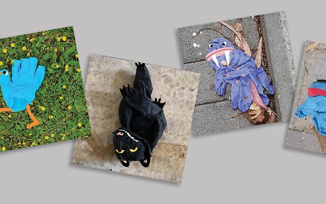 Designer Yoav Gati makes doodles out of discarded gloves.  Courtesy of Yoav Gati/via JTA