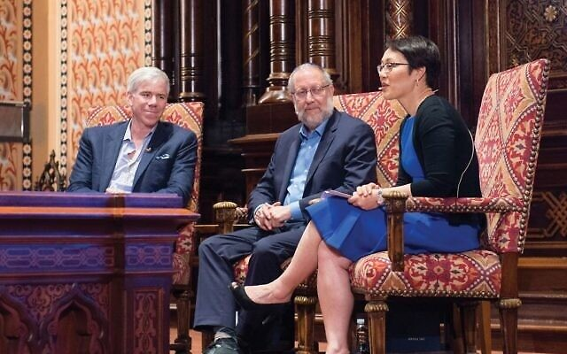 Television journalist David Gregory, left, author Yossi Klein Halevi and Rabbi Angela Buchdahl at Central Synagogue, in a public conversation sponsored by the Jewish Week, May 16, 2018. (Madison Voelkel)