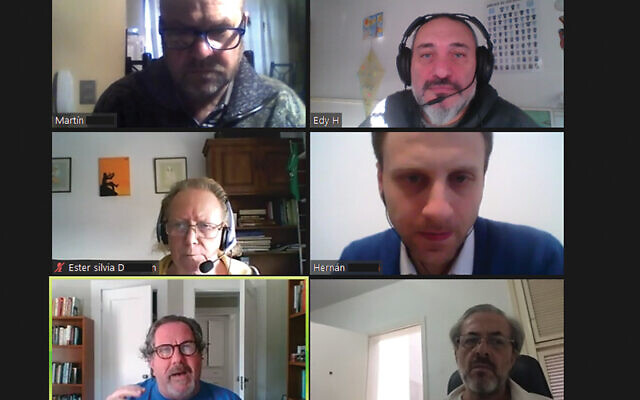 Rabbi Clifford Kulwin, bottom left, leads a Zoom class this week on lifecycle events with rabbinical students from Chile, Argentina, and Brazil.