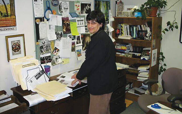 The writer in her NJJN office on the Aidekman campus in Whippany, 2006.