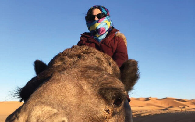 Lori Silberman Brauner on assignment in the Sahara Desert.