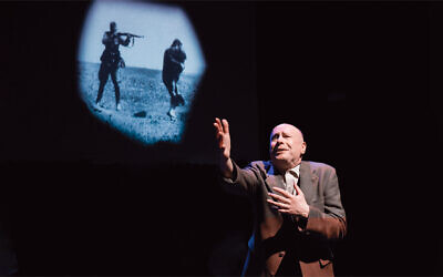 "Roger Grunwald as Shmuel in ""The Mitzvah Project,"" a three-character one-man play."