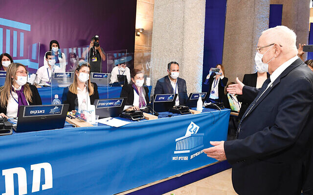 President Rivlin visited the Knesset and thanked the members of the Central Elections Committee. (Mark Neyman, GPO)