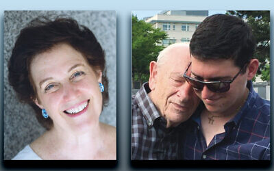 "Cantor Erica ""Rikki"" Lippitz, left, Fred Heyman, left, with Howard Goldberg"