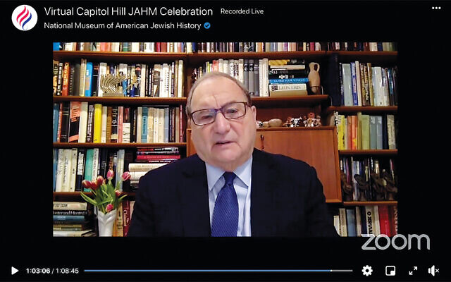 Abe Foxman accepts his award on Zoom; in his remarks, he talks about optimism and hope.