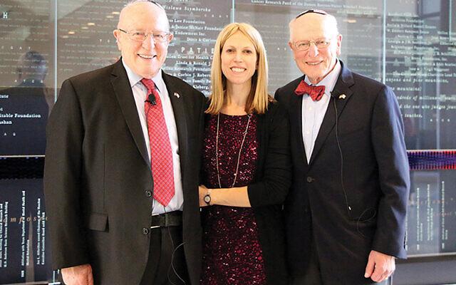 Dr. Bernard Schanzer of West Orange, left, his daughter, Dr. Bella Schanzer of Texas, and his twin brother, Henry Schanzer of Edison. (Baylor College of Medicine)