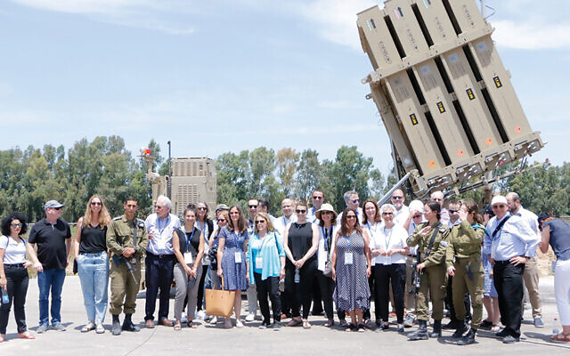 Members of the Greater MetroWest Solidarity Mission to Israel, which was in the country June 7 to 10, visited an Iron Dome battery near Sderot. (Shachar Sabag)