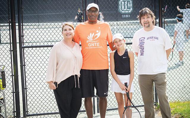 Lil Schonbraum stands between GNTE Founders Karen Gruenberg, Charlie McKenna, and Bob Bynum.